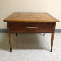 Vintage Mid Century Lane Acclaim Square Wood Side End Table With Drawer