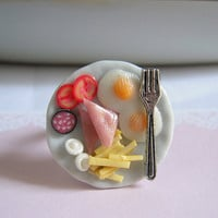 Miniature Food Egg Ham French Fries Silver Fork Adjustable Ring