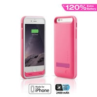 Naztech Apple MFi Power Case with Kickstand for iPhone 6 - Pink
