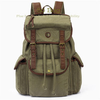 Green Leather Canvas Backpack, BACKPACK,Cow Leather Men's leather bag canvas Bag,leather canvas Briefcase,Messenger bag,school bag,TB12