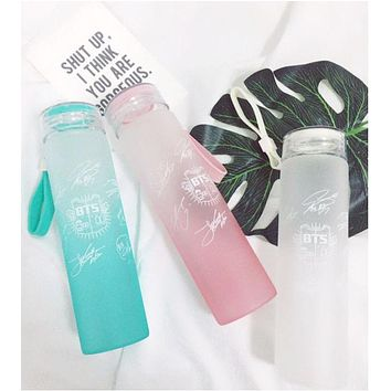 New kpop BTS Bangtan Boys Group official The Same Summer gradient frosted glass freshness letter Lemon cup