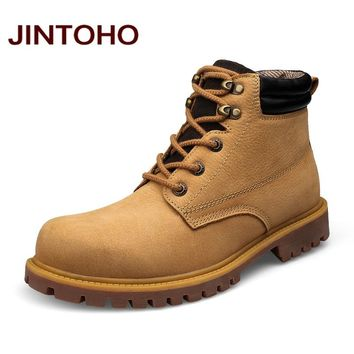 Winter Men Fashion Boots Genuine Leather Men Ankle Boots Lace Up Work Boots Safety Shoes For Men