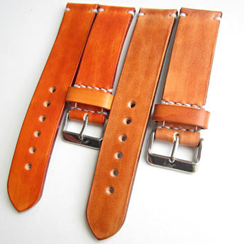 Leather Watch Band , 18mm, 20mm,  22mm Leather Strap, Mens Leather Watch Strap, Light brown, British tan