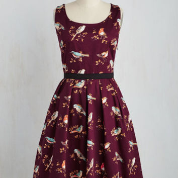 Critters Long Sleeveless Fit & Flare Greenhouse Grandeur Dress in Plum