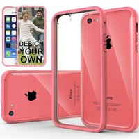 iPhone 5C case, Caseology® [Clear back Bumper] [Pink] DIY Customization Fusion Hybrid Cover [Shock Absorbent] Apple iPhone 5C case