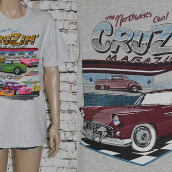 90s Graphic Tee Cruzin Magazine Hot Rod Custom Classic Cars 50s 60s Drage Race Tshirt mens M Hipster punk grunge Greaser Rockbilly Grey Neon