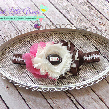 Football Headband - Baby Girl Headbands - Sports Headband - Toddler Hairband - Girls hair Clip - newborn photo prop - pink brown cream bow