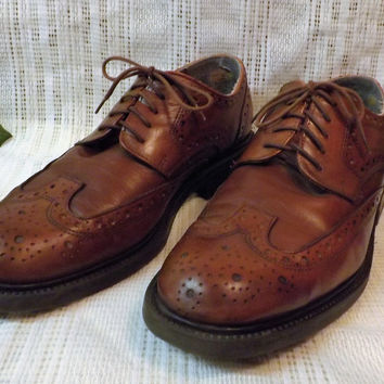 Vintage Bill Blass Mens Wing Tips Chestnut Brogue Mens Shoes Size 11 M