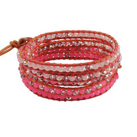 Pink Natural Crystal Chain Bracelet Long Knitting Jewelry