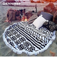 2016  New Summer 150cm Large Microfiber Printed Round Mandala Tapestry Beach Towels With Tassel Circle Beach Towel Serviette