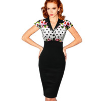 eSale Womens Summer Vintage Pinup Retro Polka Dot Floral Print Colorblock Tunic Sheath Bodycon Party Pencil Dress CG97