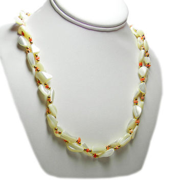 Mother of Pearl Shell Coral Necklace Double Strand Twist