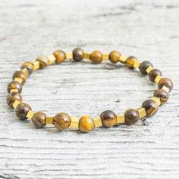 Tiger eye beaded stretchy bracelet with gold plated hematite cubes, custom made yoga bracelet, mens bracelet, womens bracelet