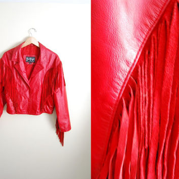 Enigne #9 - Vintage 80s Red LEATHER Fringe Cropped Coat Jacket