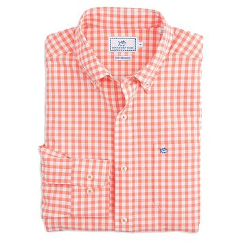 Nassau Gingham Intercoastal Performance Shirt in Peach Fizz by Southern Tide