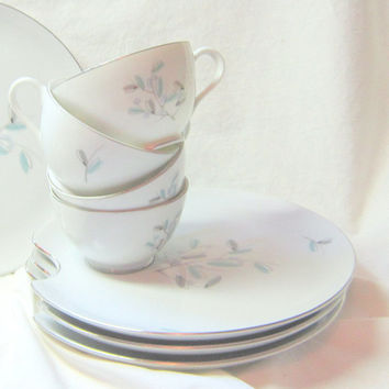 Vintage China Mid Century Serving Set Cups Plates Luncheon Set Royal Sealy Cups Plates Aqua Grey Flowered China Cups Plates MidCentury China