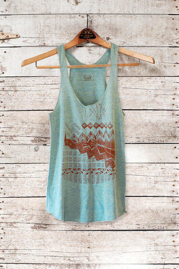 Astral Tepee Tank - womens tri-blend tank - brown - by Bark decor