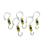 Beaded Christmas Ornament Hooks - Set of 5 Ornament Hangers - Green and Gold Glass Bead - Holiday Decor - Packers Ornament - Ducks Ornament