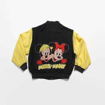 Vintage 80s SILK BOMBER / 1980s Tiny Fit Mickey & Minnie Mouse Disney Embroidered Bomber Jacket XS