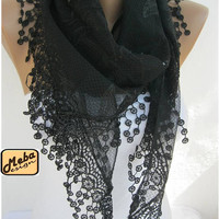 Black scarf ,women scarves - guipure -  fashion scarf - gift scarves
