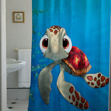 squirt finding nemo shower curtain that from telocurtain on etsy. Black Bedroom Furniture Sets. Home Design Ideas