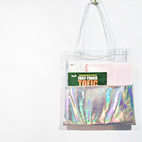 sliver hologram cyber Galaxy rainbow tote bag