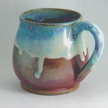 "Unique Coffee Mug \ Tea Cup Large Handled 10 ounce oz pottery, Light Sky Blue & Copper Color, ""Good Morning"", Wheel Thrown Pottery ceramic"