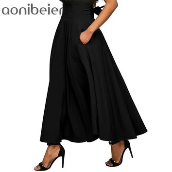 Aonibeier Zip-Back Wide Waistband Swing Skirts  Fashion Solid Color High Waist Maxi Skirt Double Pocket Lace-Up A-Line Skirt