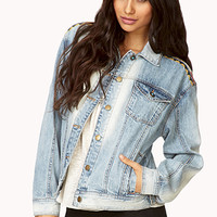 FOREVER 21 Southwest Bound Denim Jacket Light Denim/Multi