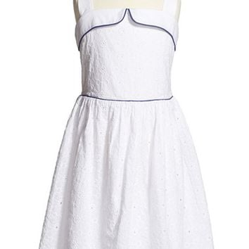 Girl's Mini Boden 'Fifties Summer' Print Sleeveless Cotton Dress