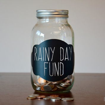 Rainy Day Fund Piggy Bank Mason Jar, Rainy Day Mason Jar, Piggy Bank