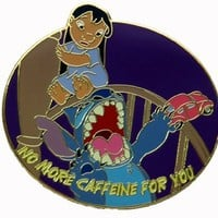 Disney Pins Lilo & Stitch Caffeine Quote