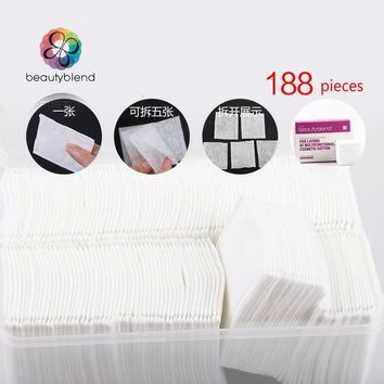 Beautyblend Brand R-8033 188 Pcs Plastic Box Package Wipe Pads Nail Polish Cleaning Pads Cosmetic Cotton Makeup Remover Cleaner