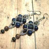 Blue Goldstone Peacock Iris Crystal Beadwoven Handmade Dangle Earrings