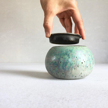 GREEN LIDDED CONTAINER 12 oz, ceramic, pottery, handmade, coffee jar, salt cellar, vessel, container, bottle, storage, spice, birthday gift