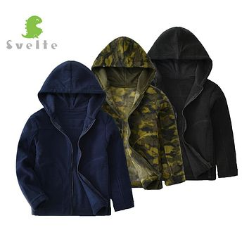 SVELTE Kids Striped Fleece Hooded Jackets Boys Camo Polar Fleese Hoody Navy Coatfor Children Coat Black Hooded Sweatshirts