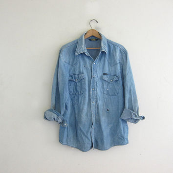 vintage distressed Osh Kosh jean shirt. Destroyed / wash out denim shirt. pearl snap shirt. work shirt.