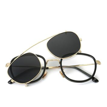 Vazrobe Clip on Sunglasses Men Women Double Lens Glasses Diopter Frames Steampunk Driving Goggles UV400 Mirror Vintage Punk 2018