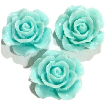 Aqua blue flower resin cabochon 15mm / 1-5 pieces