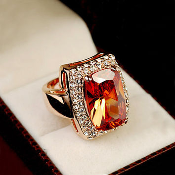 Brilliant Amazing Super Big Champagne color Stone Ring Square Orange Crystal Ring 18K Gold Plated Cocktail Ring Women Jewelry