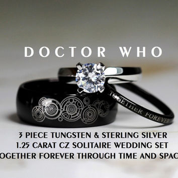 Doctor Who His 8MM Tungsten and Hers 4MM 925 Sterling Silver 1.25 Carat Solitaire CZ Wedding Ring Set,