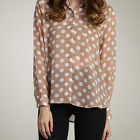 Tan Polka Dot Sheer Top from Monica's Closet Essentials