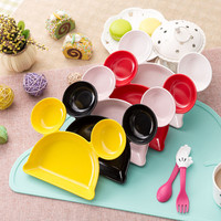 1PC Mickey Minnie Plate Tableware Dishes Fruit Bowl Cartoon Creative Mickey Plate For Children's Sub-grid Plate KC1541