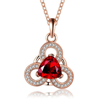 Rose Gold Plated Circular Clover Ruby Pendant Necklace