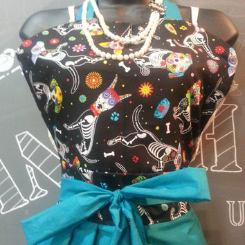 Beautiful Handmade Vintage Inspired Pin-Up Girl Apron  With Sugar Skull Pups and Lavender Pom-poms