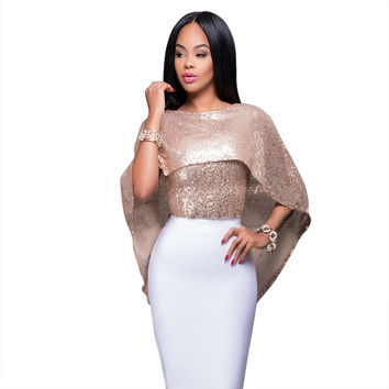 Cape Sleeve Flounced Sequined Top