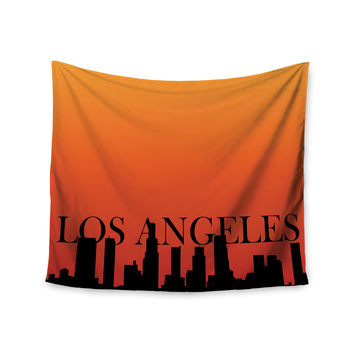 "KESS Original ""Los Angeles"" Orange Black Wall Tapestry"