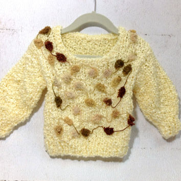 Mohair Wool Beige Sweater Pullover - Hand Knit