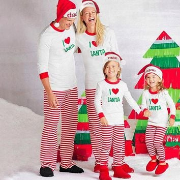pjs striped matching christmas outfits I LOVE santa pajamas sets for family pyjamas holiday new year sleepwear nightwear