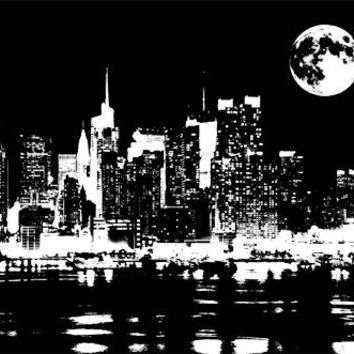 New York city at night png clip art  Digital Image Download printable wall art home decor skyscraper buildings full moon